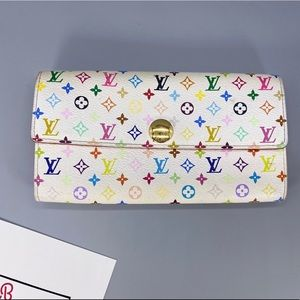 Louis Vuitton White Multicolore Sarah Wallet